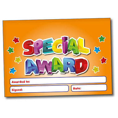 Personalised Special Award Certificate - Orange (A5 Sized)