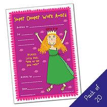 Pack of 20 -Super Dooper Award - Princess - A5 Cert Pedagog