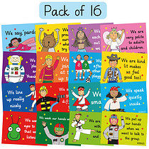 A4 Pedagogs Classroom Manners Posters pack of 16