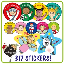 Value Pack of 281 Mixed Pedagogs Stickers