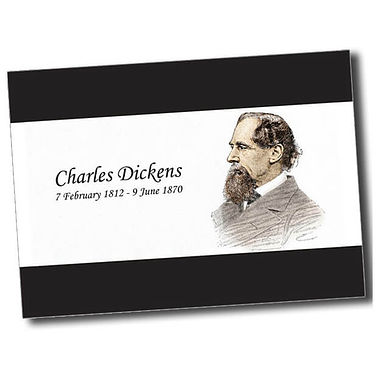 Personalised Charles Dickens Postcard - Black (A6)