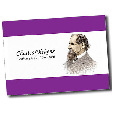 Personalised Charles Dickens Postcard - Purple (A6)