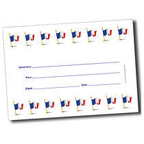 Personalised A5 French Flags Blank Certificates