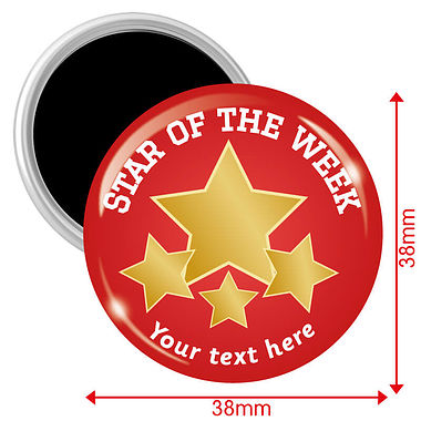 Personalised Star of the Week Magnets - Red (10 Magnets - 38mm)