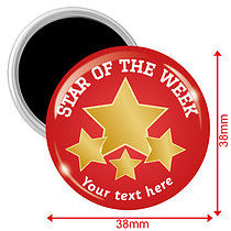 Personalised Star of the Week Red 38mm Magnets Pack of 10