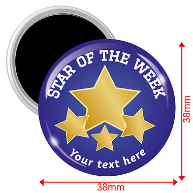 Personalised Star of the Week Magnets - Blue (10 Magnets - 38mm)