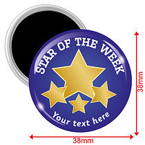 Personalised Star of the Week Blue 38mm Magnets Pack of 10