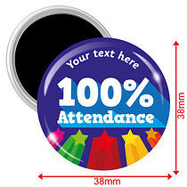 Personalised 100% Attendance 38mm Magnets Pack of 10