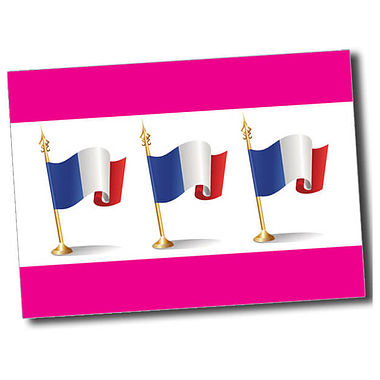Personalised French Flag Postcard - Pink (A6)