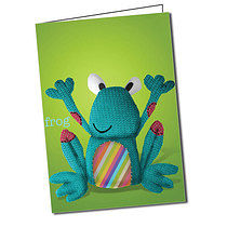 Personalised FABric Animals Frog A5 Greeting Card