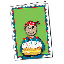 Personalised Pedagogs Pirate Birthday Cake A5 Greeting Card