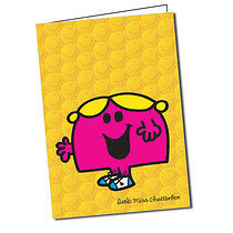 Personalised Little Miss Chatterbox Yellow A5 Greeting Card