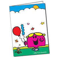 Personalised Little Miss Chatterbox Balloons A5 Greeting Card