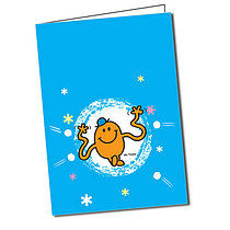 Personalised Mr Men Mr Tickle A5 Christmas Snow Greeting Card