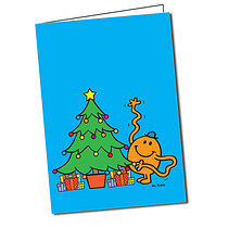 Personalised Mr Men Mr Tickle A5 Christmas Tree Greeting Card
