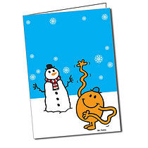 Personalised Mr Men Mr Tickle A5 Snowman Greeting Card