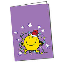 Personalised Mr Men Mr Happy A5 Christmas Greeting Card