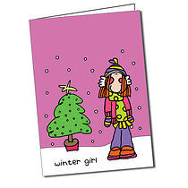 Personalised Bang on the Door Winter Christmas Card