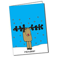 Personalised Bang on the Door Reindeer Christmas Card
