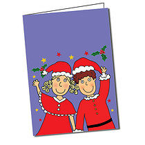 Personalised Pedagogs Waving Christmas Purple  Greeting Card