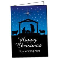 A5 Personalised Night Time Nativity Christmas Cards