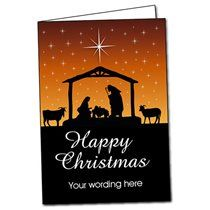 A5 Personalised Sunset Nativity Christmas Card