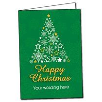 A5 Personalised Star & Snowflakes Tree Green Christmas Cards