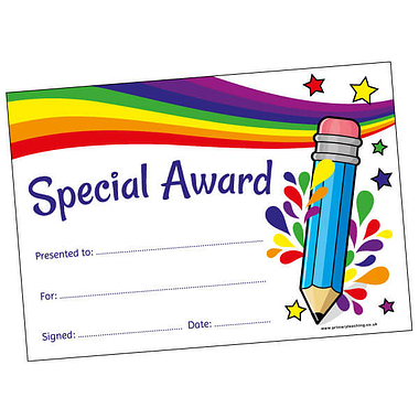 Pack of 20 Pencil Glitter Certificates