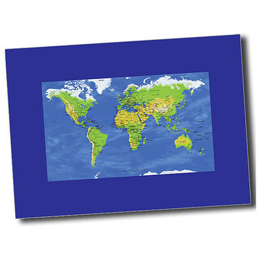 Personalised World Map Postcard - Blue (A6)