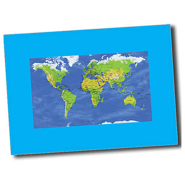 Personalised World Map Postcard - Cyan (A6)