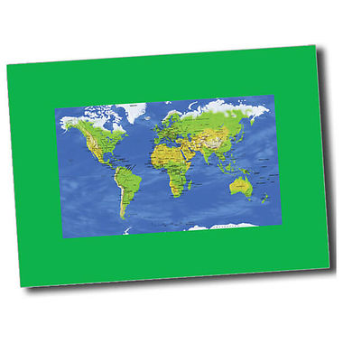 Personalised World Map Postcard - Green (A6)