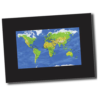 Personalised World Map Postcard - Black (A6)