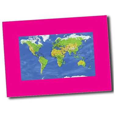 Personalised World Map Postcard - Pink (A6)