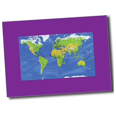 Personalised World Map Postcard - Purple (A6)