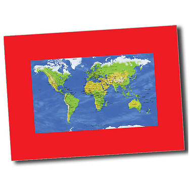 Personalised World Map Postcard - Red (A6)