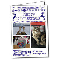 Upload Your Own Cross Stitch A5 Christmas Card