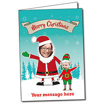 Upload Your Own Santa & Elf A5 Christmas Card