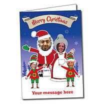 Upload Your Own Santa Family A5 Christmas Card
