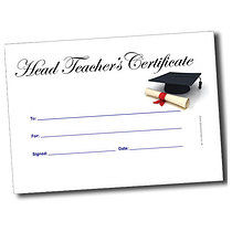 A5 Personalised Mortarboard & Scroll Head Teacher Certificate