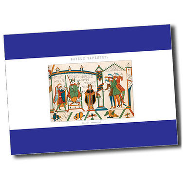 Personalised Bayeux Tapestry Postcard - Blue (A6)