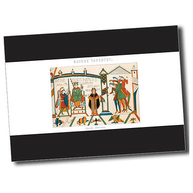 Personalised Bayeux Tapestry Postcard - Black (A6)