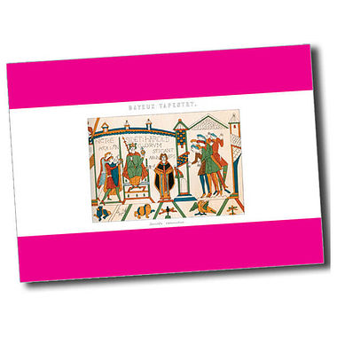 Personalised Bayeux Tapestry Postcard - Pink (A6)