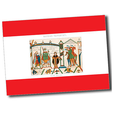 Personalised Bayeux Tapestry Postcard - Red (A6)