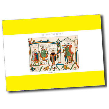 Personalised Bayeux Tapestry Postcard - Yellow (A6)