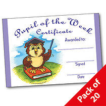 Pack of 20 Pupil of the Week Owl A5 Certificates