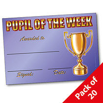 Pack of 20 Pupil of the Week Trophy A5 Certificates
