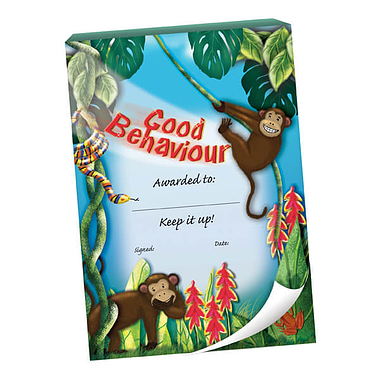 60 Page 'Good Behaviour' Monkeys Jungle Scene A6 Praisepad