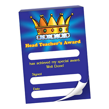 60 Page 'Head Teacher's Award' Crown A6 Praisepad