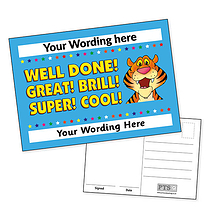 A6 Personalised Tiger and Words Postcard