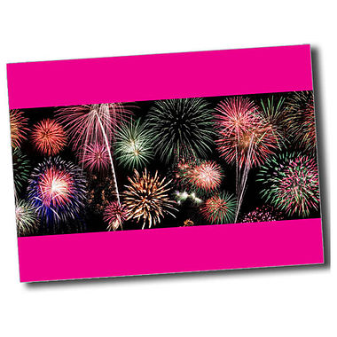 Personalised Fireworks Postcard - Pink (A6)